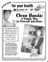 PDF Thumbnail for Clean Hands - A Simple Way to Prevent Infection