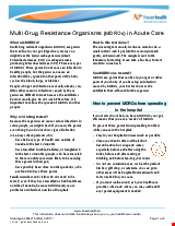 PDF Thumbnail for Multi-Drug Resistance Organisms (MDROs) - Acute Care: How to prevent the spread of infection in hospital and at home