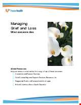 PDF Thumbnail for Managing Grief and Loss: When someone dies