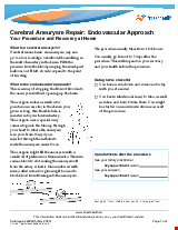 PDF Thumbnail for Cerebral Aneurysm Repair: Endovascular Approach Your Procedure and Recovery at Home
