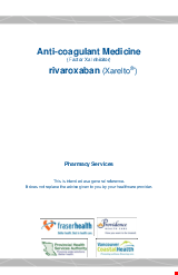 PDF Thumbnail for Anti-Coagulant Medicine (Factor Xa Inhibitor) – rivaroxaban (Xarelto®)
